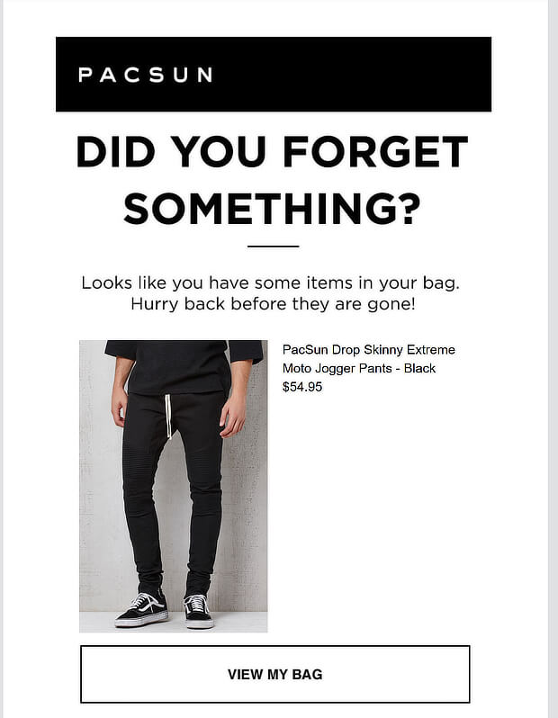 pacsun cart abandonment email