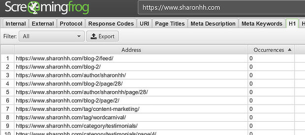h1 image sort for screaming frog seo audit