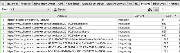 图像排序从尖叫青蛙seo审计工具