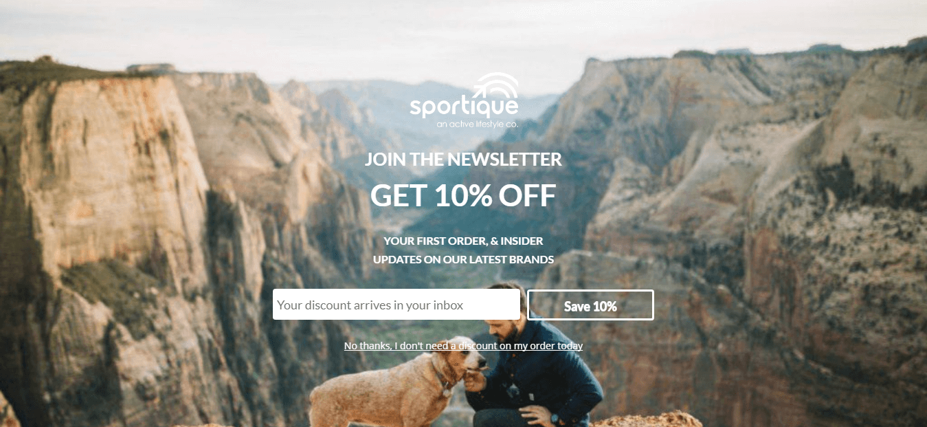 Sportique used a full screen optin as a creative lifestyle brand marketing to increase conversions