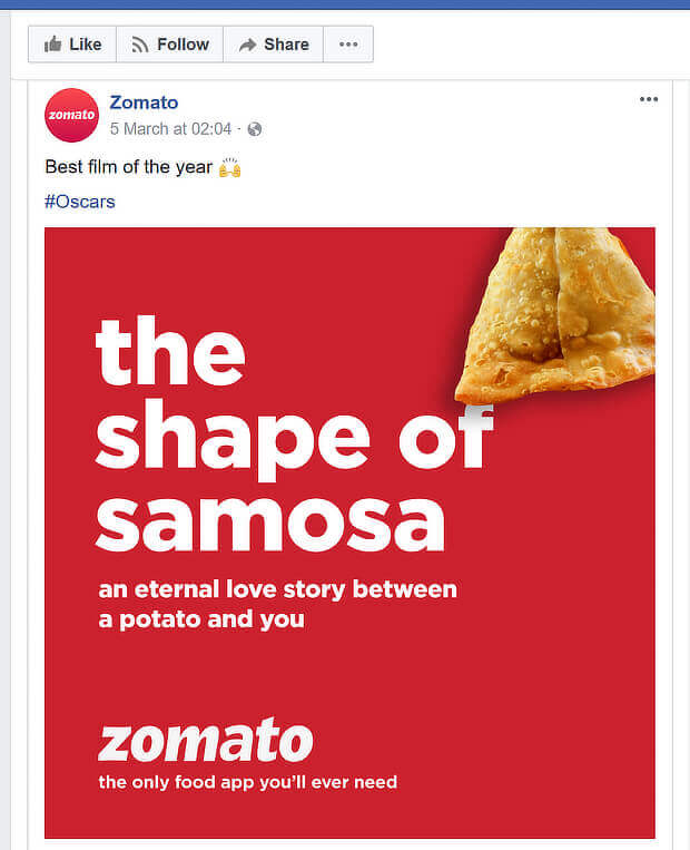 social media content marketing examples - zomato