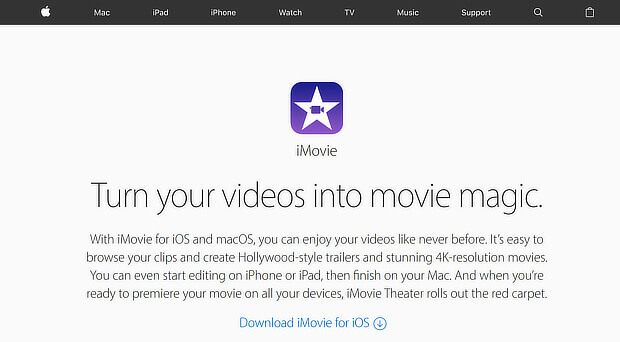 visual content creation tools - imovie