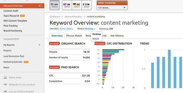 view mobile seo keywords in semrush