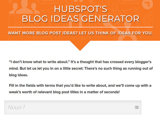 25 HubSpot's Blog Ideas Generator