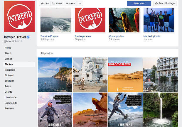 facebook content marketing examples - intrepid travel