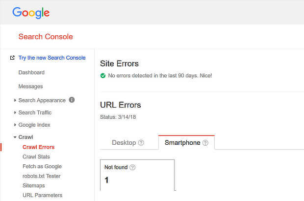 view mobile seo errors with google search console