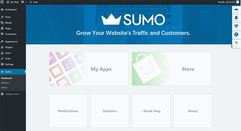 sumo wordpress dashboard