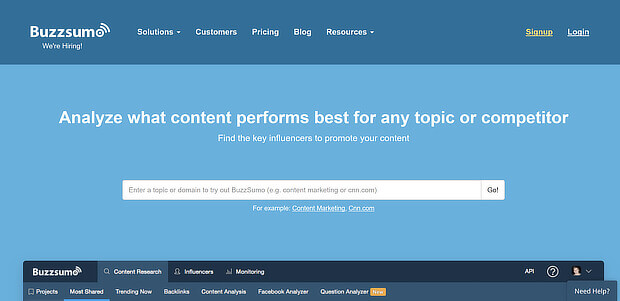 tools for curating content - buzzsumo