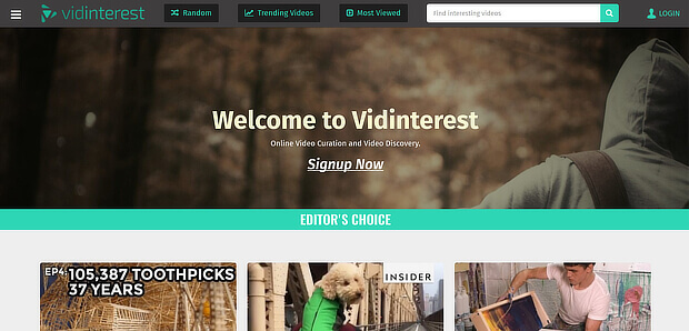 use vidinterest as a video content curation tool