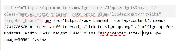 14 monsterlink code for a wordpress image popup on click