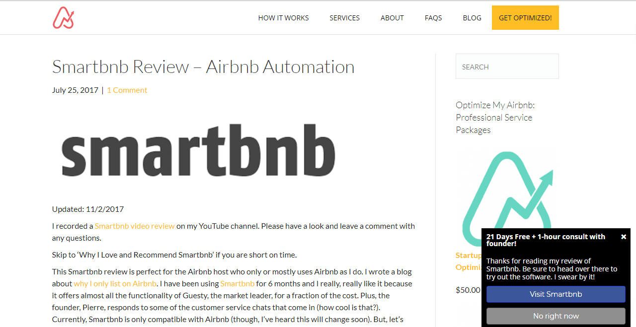 OptimizeMyAirBnB slidein optin