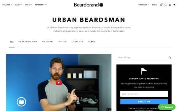 "cd9e1cac71294 Beardbrand has a blog named ""Urban Beardsman"" that targets, well, beardsman  – people who take pride in grooming their beards."