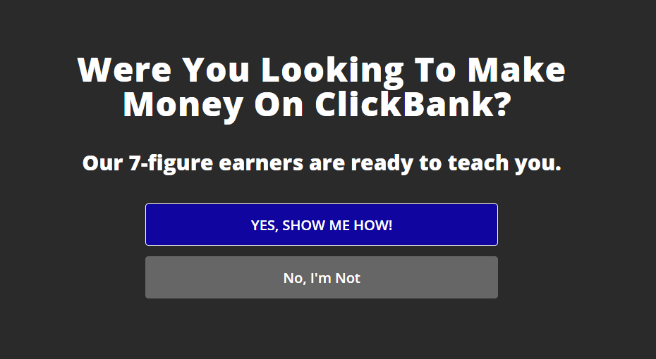 ClickBank recovers abandoning visitors with an exit-intent optin split test
