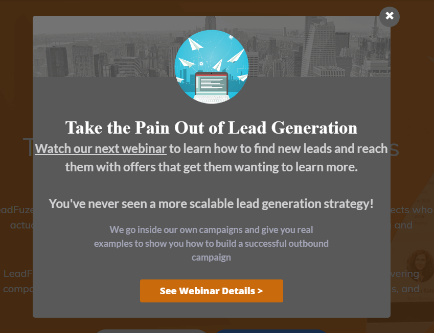 LeadFuze captured abandoning visitors with an exit-intent lightbox