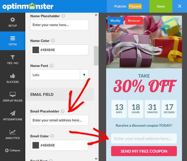 om email placeholder - countdown timer bar