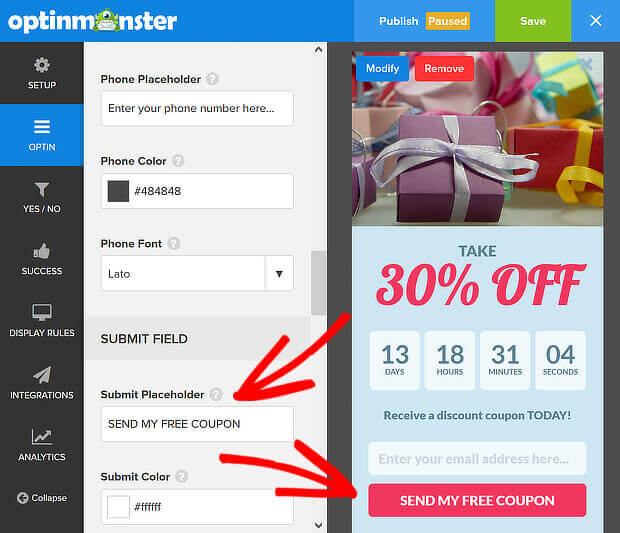om submit placeholder sales countdown timer
