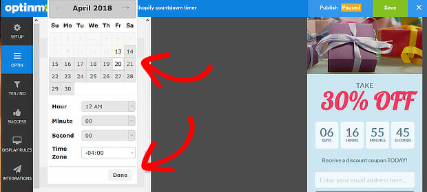 om set timer calendar and time zone