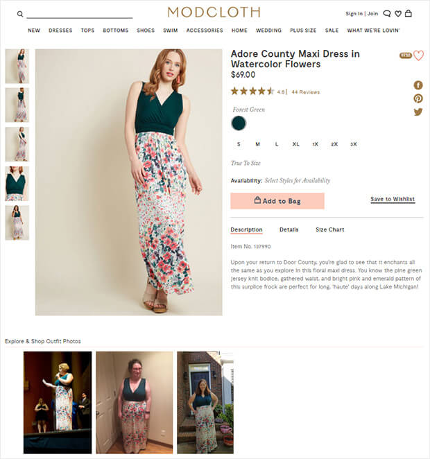 optimizing ecommerce product pages with model and customer photos