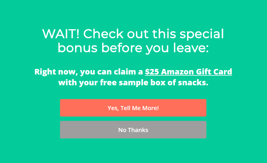 SnackNation uses fullscreen exit-intent offers to capture abandoning visitors
