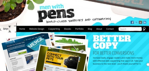 quirky above the fold web design on men with pens