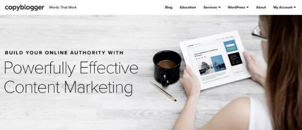 copyblogger's online above the fold design