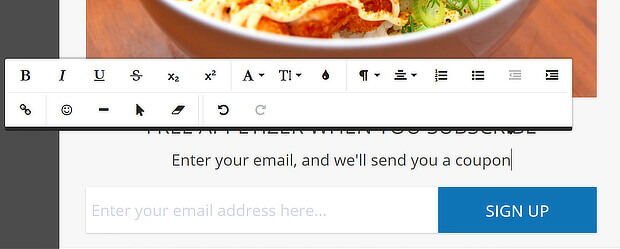 wordpress menu custom link popup - edit body text