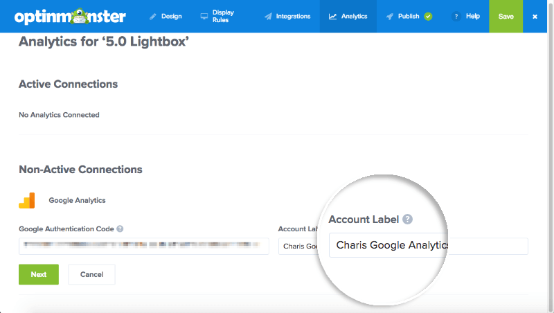 Add Google Analytics account label