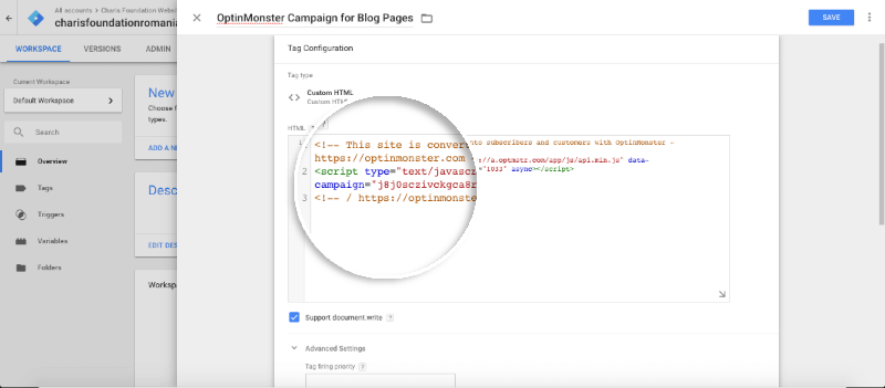 Campaign-specific + paste embed code in tag