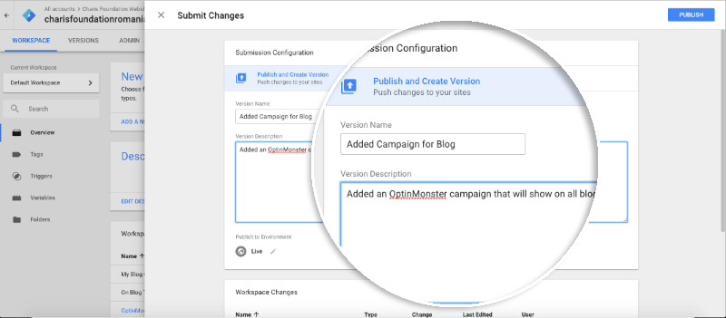 Campaign-specific publish tag