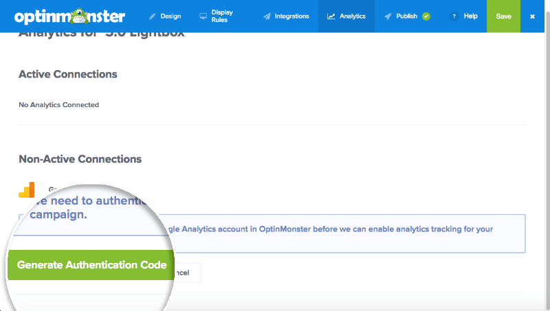Click to Generate Authentication Code for Google Analytics