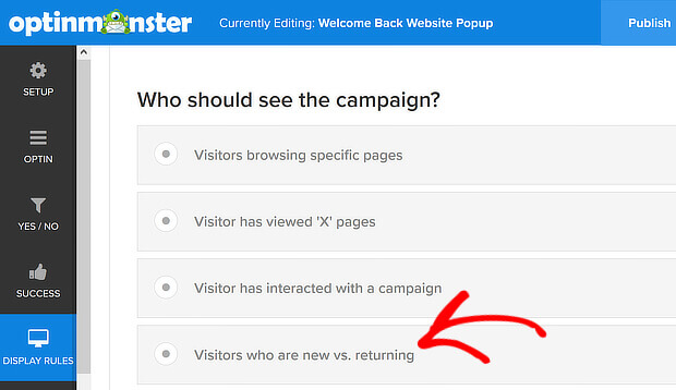 show your website popup to new  or returningvisitors