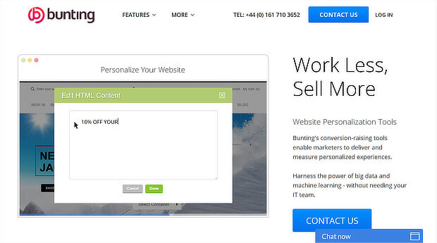 ecommerce personalization tools - bunting