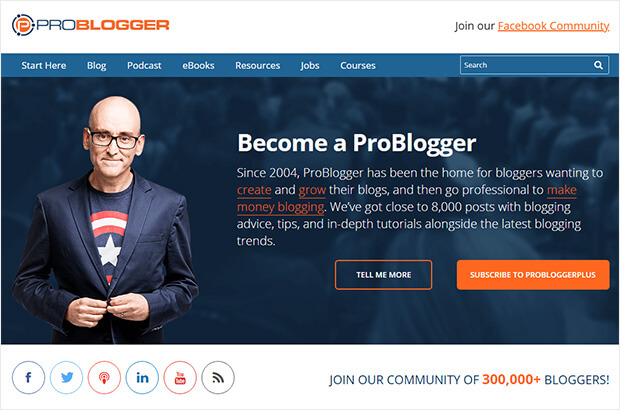 problogger web design above the fold