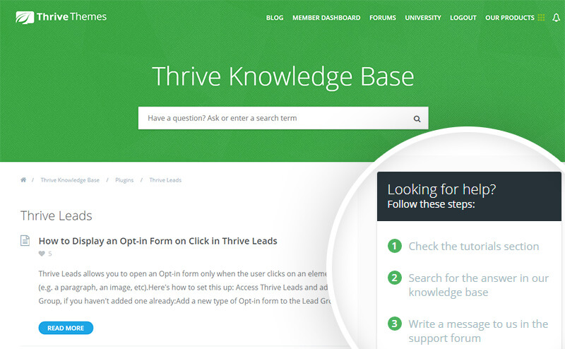 thrive leads knowledgebase