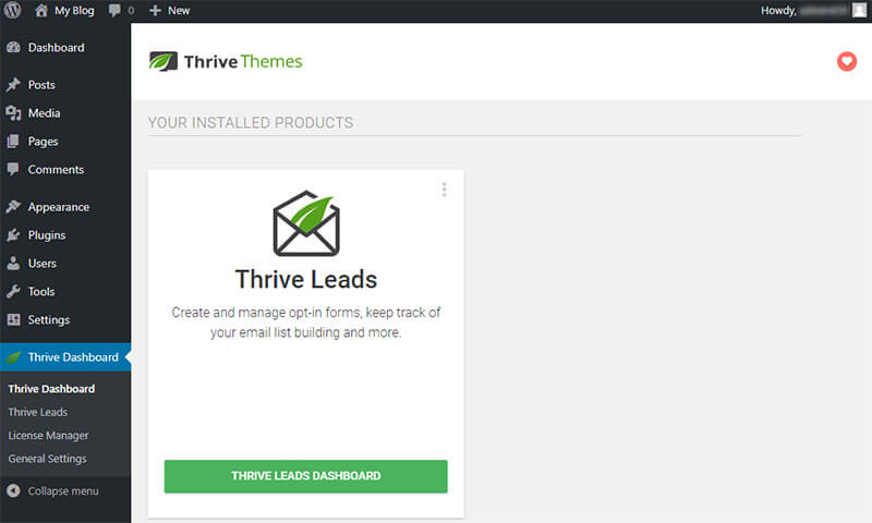 thrive leads wordpress dashboard