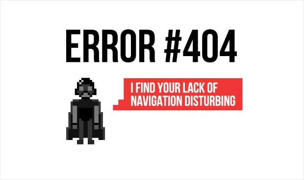 darth vader 404 error page