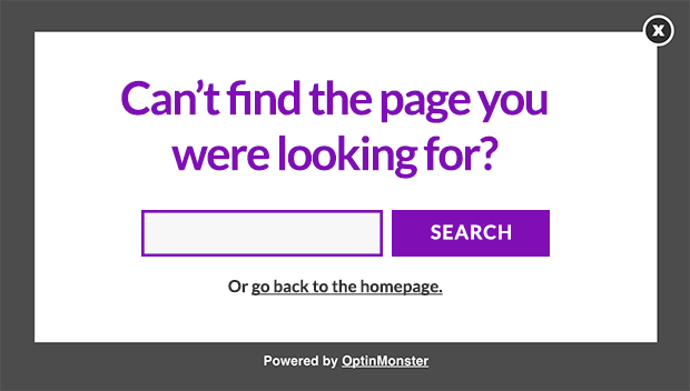 Exit intent for 404 page