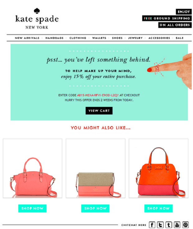 kate spade abandoned cart email strategy
