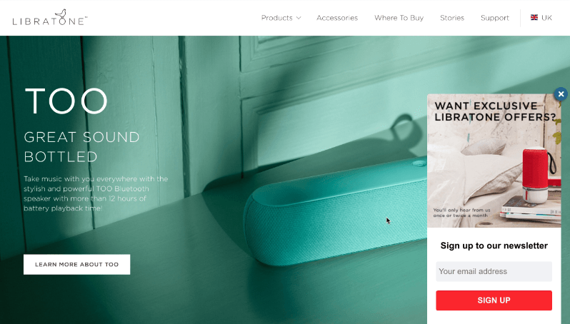 Libratone targets engaged visitors from the UK with a slide in optin.