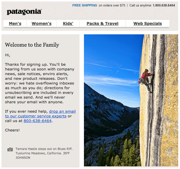 Patagonia welcome email - ecommerce email ideas