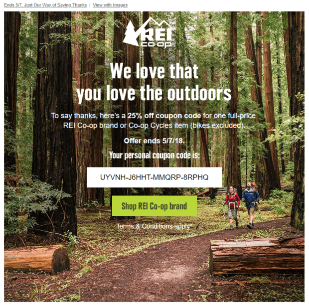REI promotional email