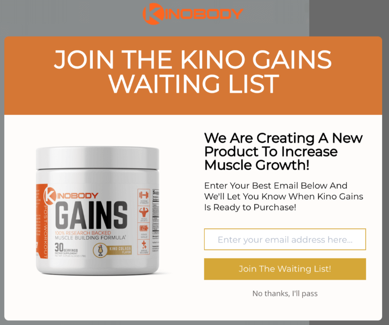 Kinobody creates waiting lists for products about to be launched using OptinMonster.
