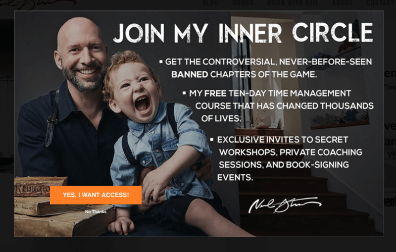 How NeilStrauss.com Increased Conversions 125% Using Exit-Intent Optins