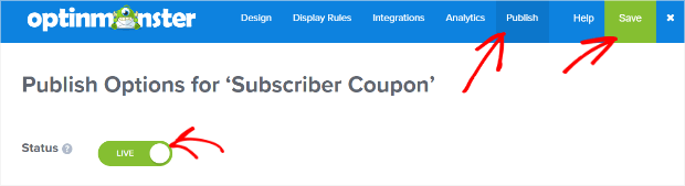 publish and save your subscriber coupon
