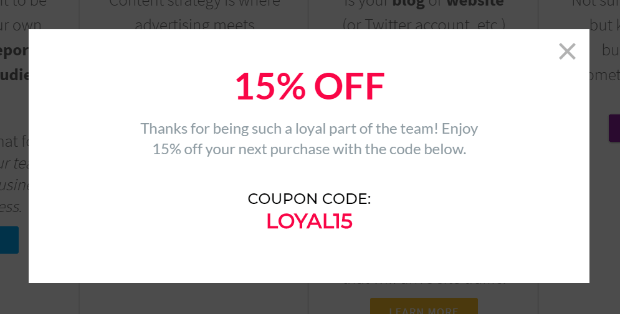 subscriber coupon popup