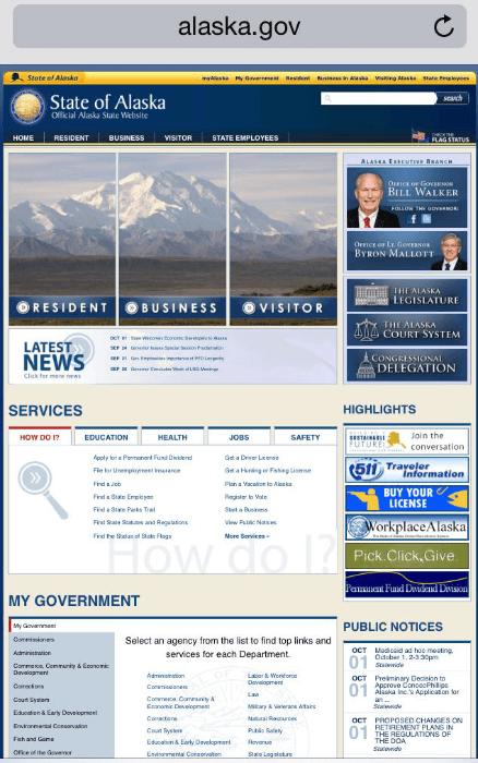 state of alaska mobile landing page
