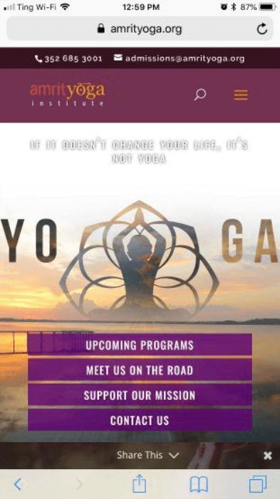 amrit yoga mobile landing page
