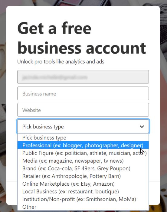 pinterest basic business info to upgrade to business account