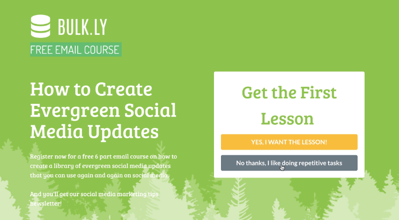 Bulkly offered a six week course using a fullscreen optin that also pushed visitors towards a free trial.