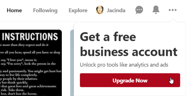 pinterest business account upgrade